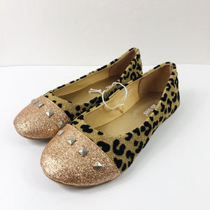 [JELLY BEANS] Animal Print Studded Ballet Flats